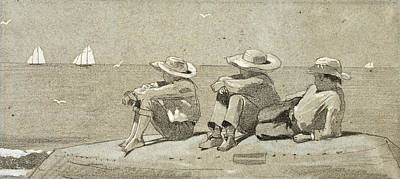Winslow Homer Drawing - Three Boys On A Beached Dory by Winslow Homer