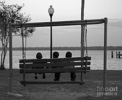 Three Boys On A Swing Art Print by Kathi Shotwell
