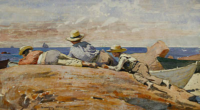 Painting - Three Boys On The Shore by Winslow Homer