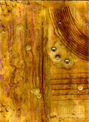 Mixed Media - Three Brass Tokens IIi by Angela L Walker