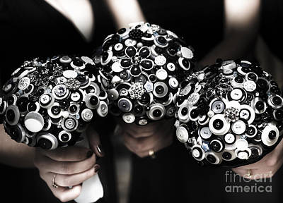 Three Bridesmaids Holding Vintage Button Bouquets Print by Jorgo Photography - Wall Art Gallery