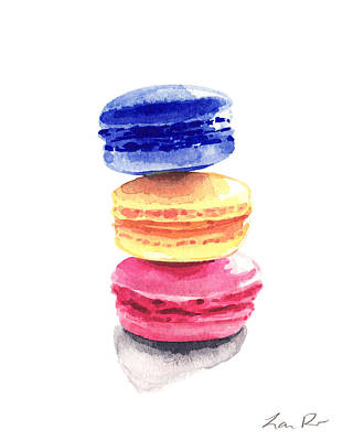Donuts Painting - Three Bright French Macarons by Laura Row