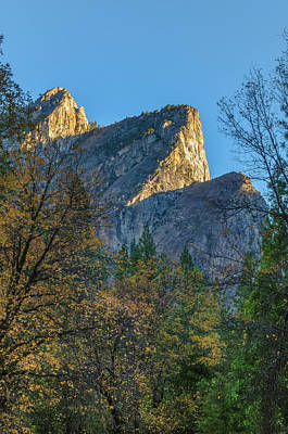 California Yosemite Photograph - Three Brothers In Autumn by Joseph Smith