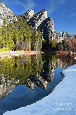 Photograph - Three Brothers In Yosemite National Park In Winter by Tibor Vari