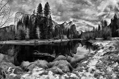 Photograph - Three Brothers Yosemite Black And White by Blake Richards