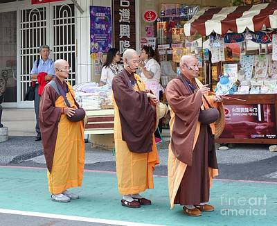 Photograph - Three Buddhist Monks Chant Scriptures by Yali Shi