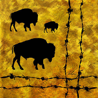 Photograph - Three Buffalo  by Barbara Snyder