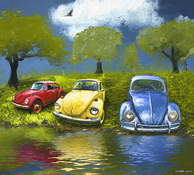 Digital Art - Three Bugs On A Hill by Ken Morris