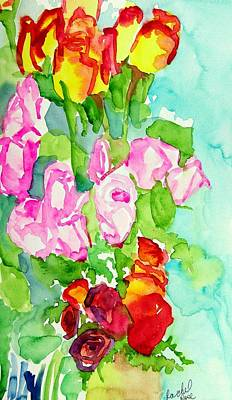 Painting - Three Bunches Of Roses by Rachel Rose
