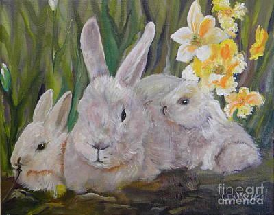 Painting - Three Bunnies by Cheryl Damschen