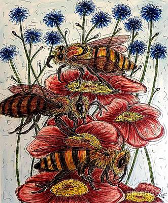 Painting - Three Busy Bees by Kim Jones