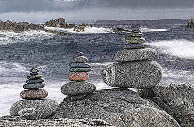 Photograph - Three Cairn Seascape by Marty Saccone
