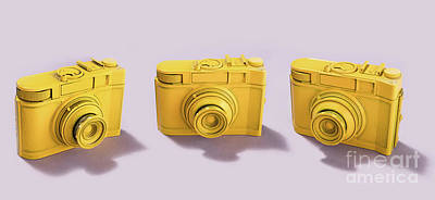 Photograph - Three Cameras Standing On Pink Background by Michal Bednarek