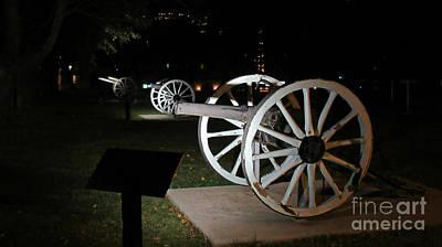 Three Cannons At Night Art Print