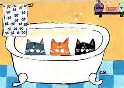 Painting - Three Cats In The Bathtub by Christine Quimby
