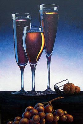 Champagne Painting - Three Champagne Glasses by Glenda Stevens