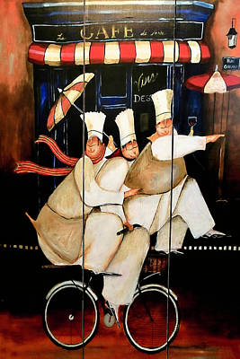 Photograph - Three Chefs On A Bike by Donna Kennedy