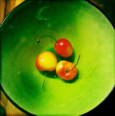 Photograph - Three Cherries In Green Bowl by Betse Ellis