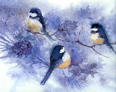 Three Chickadees Original
