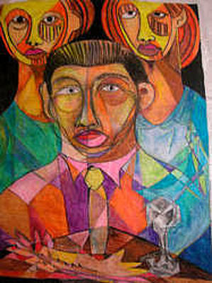 Robert Daniels Mixed Media - Three Children by Robert Daniels