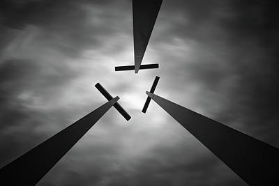 Photograph - Three Christian Crosses - Black And White by Gregory Ballos
