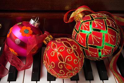 Keyboards Photograph - Three Christmas Balls by Garry Gay