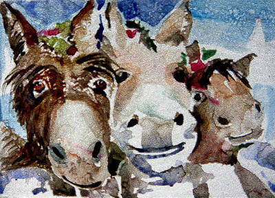 Digital Watercolor Painting - Three Christmas Donkeys by Mindy Newman