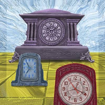 Digital Art - Three Clocks One by Jamison Smith