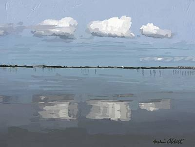 Painting - Three Clouds In Reflection On The Banana River, Merritt Island, Fl by Melissa Abbott