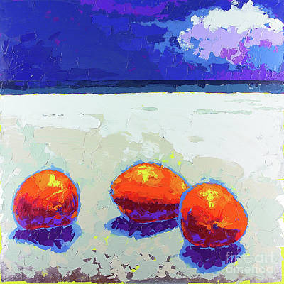Wall Art - Painting - Three Coconuts On The Beach by Anatoli Titarenko