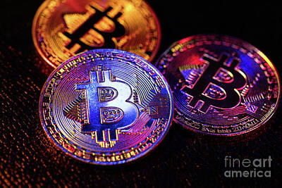 Photograph - Three Coins With Bitcoin Logo Laying On A Black Background by Michal Bednarek
