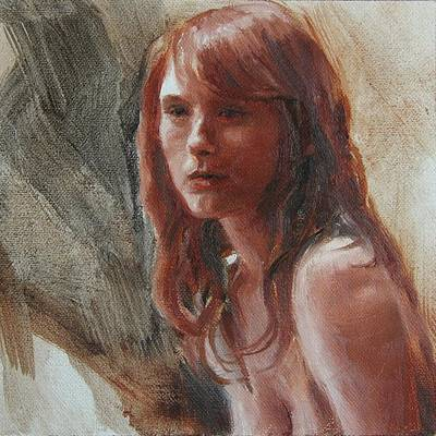 Painting - Three Color Portrait Study by Emily Olson