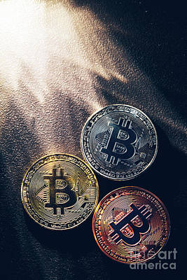 Photograph - Three Colorful Bitcoin Coins And Beams Of Light. by Michal Bednarek