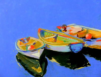Three Colourful Boats Art Print by Sue Gardner
