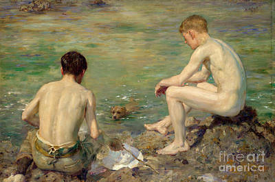Boys Swimming Painting - Three Companions by Henry Scott Tuke