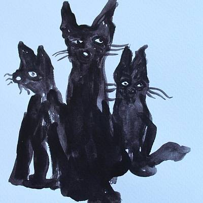 Painting - Three Cool Cats by Modern Art
