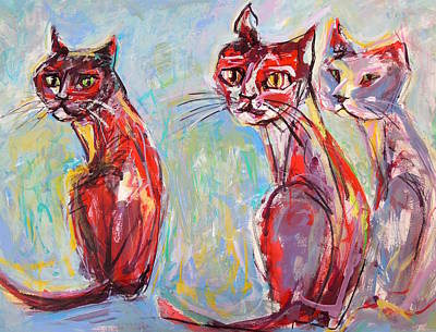 Painting - Three Cool Cats by Mary Schiros