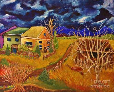 Painting - Three Cottages by Chaline Ouellet