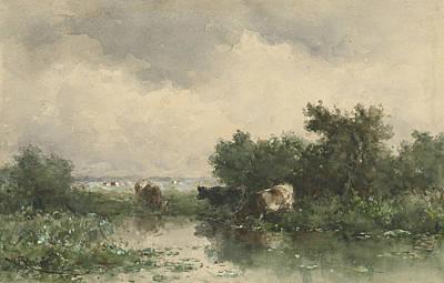 Three Cows At A Pond Art Print