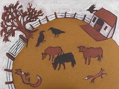 Iron Oxide Painting - Three Cows by Sophy White