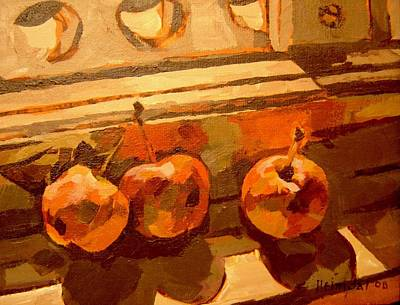 Art Print featuring the painting Three Crabapples On A Window Sill by Tim  Heimdal