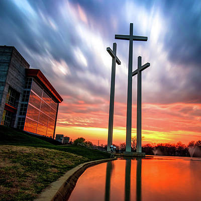 Photograph - Three Crosses At Sunset by Gregory Ballos