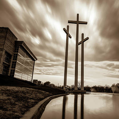 Photograph - Three Crosses At Sunset - Sepia Edition by Gregory Ballos