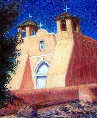 Pastel - Three Crosses In Taos by Suzanne Berry