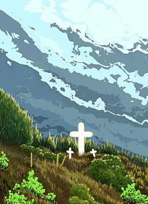 Three Crosses On A Hill Art Print by Janice Sobien
