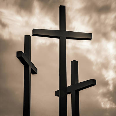 Photograph - Three Crosses - Sepia Square Art by Gregory Ballos