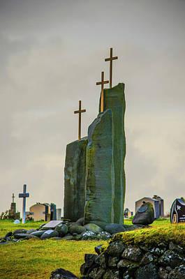 Photograph - Three Crosses Utskalakirkja Reykjanes Peninsula Iceland by Deborah Smolinske