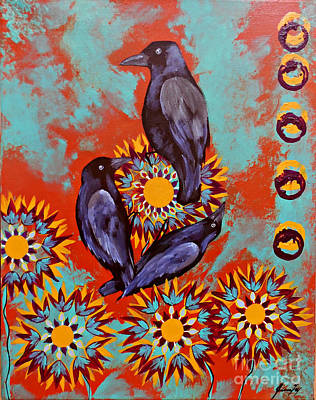 Painting - Three Crows And Sunflower by Jean Fry