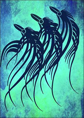 Tranquility Mixed Media - Three Crows Contemporary Minmalism by Georgiana Romanovna
