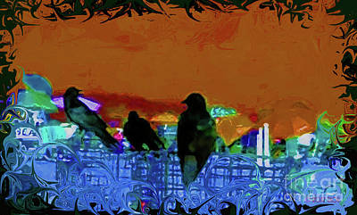 Digital Art - Three Crows On The Beach by Roxy Riou